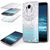 Urcover Coquille Tactile 360 degrés | LG G3 | Dream Catcher Mandala in Bleu | Silicone Transparent Doux Protection...