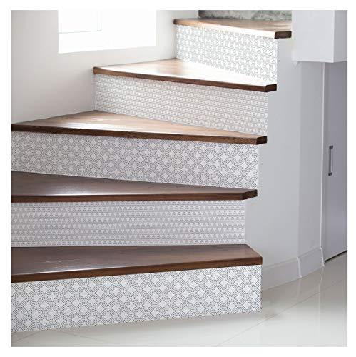 Ambiance-Live col-stairs-ROS-B092_30 x 105 cmx2 Fliesensticker für Treppen, Vinyl, Oskar, 4 Streifen à 15 x 105 cm