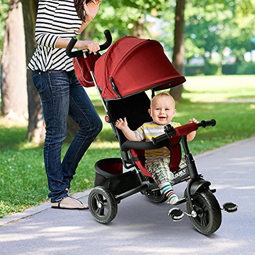 HOMCOM 3 EN 1 Triciclo para Niños +18 Meses Triciclo con Pedales con Capota Extraíble Plegable Barra Telescópica para Padres Triciclo de Empuje 96x53.5x101cm