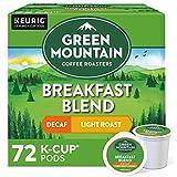 Green Mountain Coffee Roasters Breakfast Blend Decaf, Single-Serve Keurig K-Cup Pods, Light Roast Coffee, 72 Count