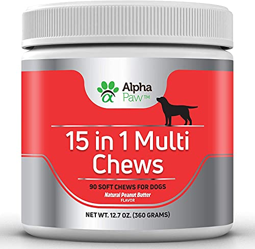 Alpha Paw 15 in 1 Multivitamin for Dogs with Glucosamine, Chondroitin, MSM, and Probiotics, Supports Joint and Immune…