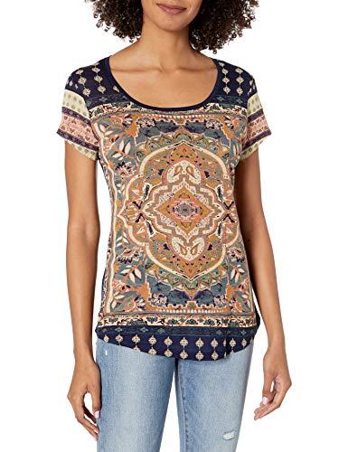 Lucky Brand Women's Persian Carpet Tee, Navy Multi, X-Large