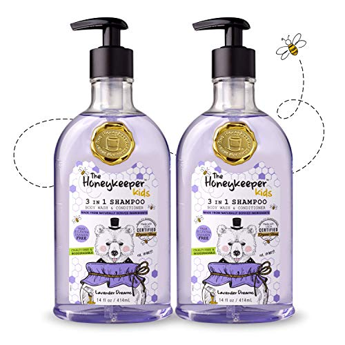 The Honeykeeper Kids Lavender Dreams 3 in 1 Shampoo, Body Wash and Conditioner (14 Ounces), 2-Pack