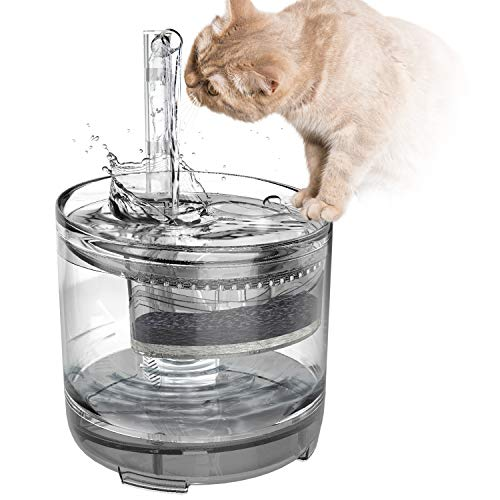Panadoo Cat Water Fountain, 1.5L Clear Automatic Water Dispenser for Pet Drinking Fountain, Dog Water Dispenser, Ultra Quiet, Adjustable Water Flow, Activated Carbon with 2 Replaceable Filters