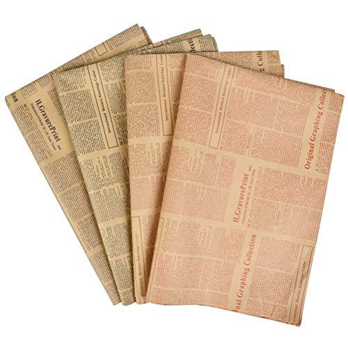 WOWOSS 20 hojas de papel kraft floral reciclable, embalaje de papel vintage para regalo de fiesta y Navidad, artesanía, flores, decoración de paredes (52 x 75 cm)