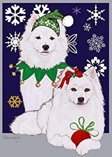 American Eskimo Dog Christmas Cards : 10 Holiday Cards with Red Envelopes - ADORABLE!