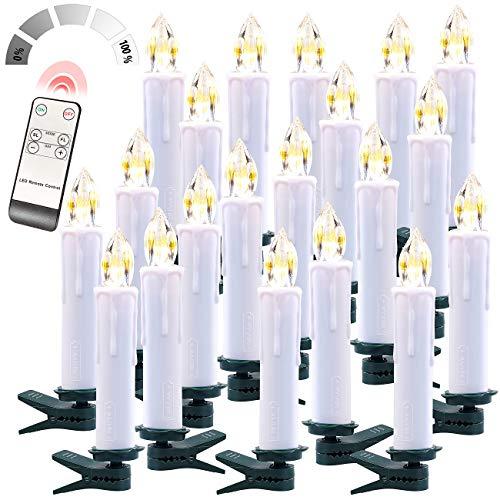 Preisvergleich Produktbild Lunartec Kerzen ohne Kabel: FUNK-Weihnachtsbaum-LED-Kerzen mit FUNK-Fernbedienung,  20er-Set,  weiß (LED-Kerzen kabellos Weihnachtsbaum)