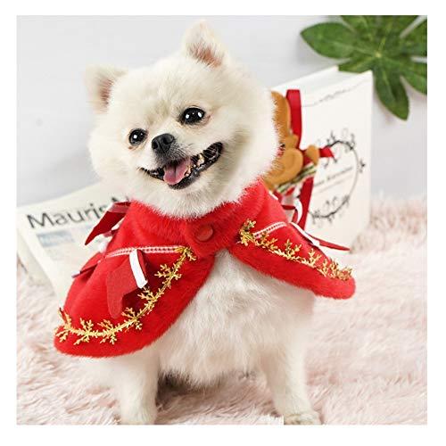 Fosspet 2020 Ropa Perro Navidad Capa con Impresión de Copo de Nieve, Ropa Perro Pequeño Invierno Abrigo para Chihuahua