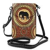Lawenp Bohemia Animal elefante bandolera monedero para teléfono pequeño Mini bolso de hombro bolsa para teléfono celular billetera de cuero para mujeres y niñas
