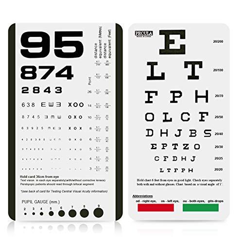 Eye Chart, Pocket Eye Chart, Snellen Pocket Eye Chart, Rosenbaum Pocket Eye Chart (2 in 1)