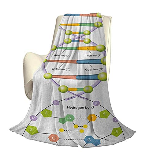 Educational Super Soft Blanket for Decoration Colorful Structure of DNA Genetic Code Amino Acids Nucleotides Scientific Study Durable Travel Sofa Bed Sofa W70 x L84 Inch Multicolor