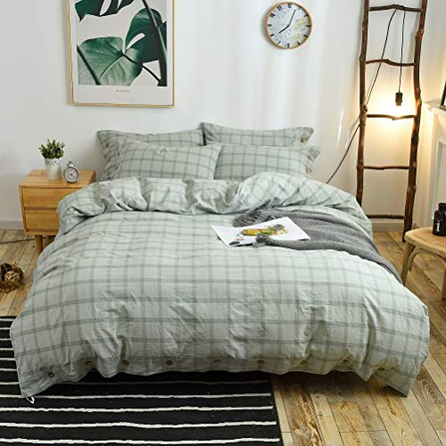 M&Meagle 3 Pieces Green Grid Duvet Cover Queen,100% Washed...