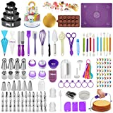 Cake Decorating Supplies Kit Set of 428, Baking Pastry Tools with 4 Packs Springform Cake Pans, Non-Stick Pastry Mat, Turntable Stand,Cake Leveler, Russian and Ball Icing Tips with Pattern Chart