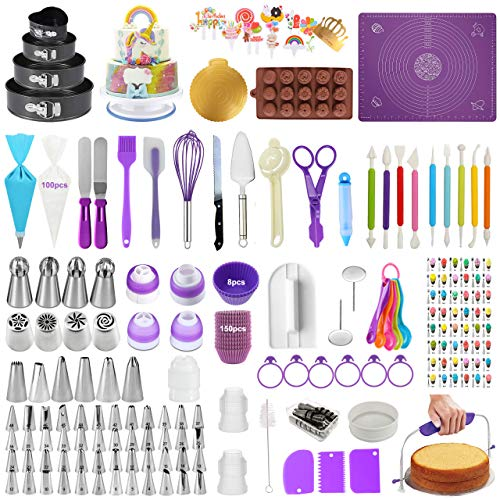 Cake Decorating Supplies Kits Set of 428, Baking Pastry Tools with 4 Packs Springform Cake Pans, Non-stick Pastry Mat, Turntable Stand,Cake Leveler, Russian and Ball Icing Tips with Pattern Chart