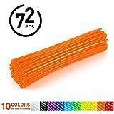 72Pcs Spoke Skins - Cubiertas de Radio de Rueda para Motocross, Bicicletas de Suciedad - 10 Colores ( Color : Naranja )