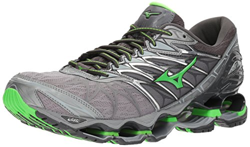 Mizuno Men's Wave Prophecy 7 Running Shoes, Monument/Green Slime, 7.5 D US