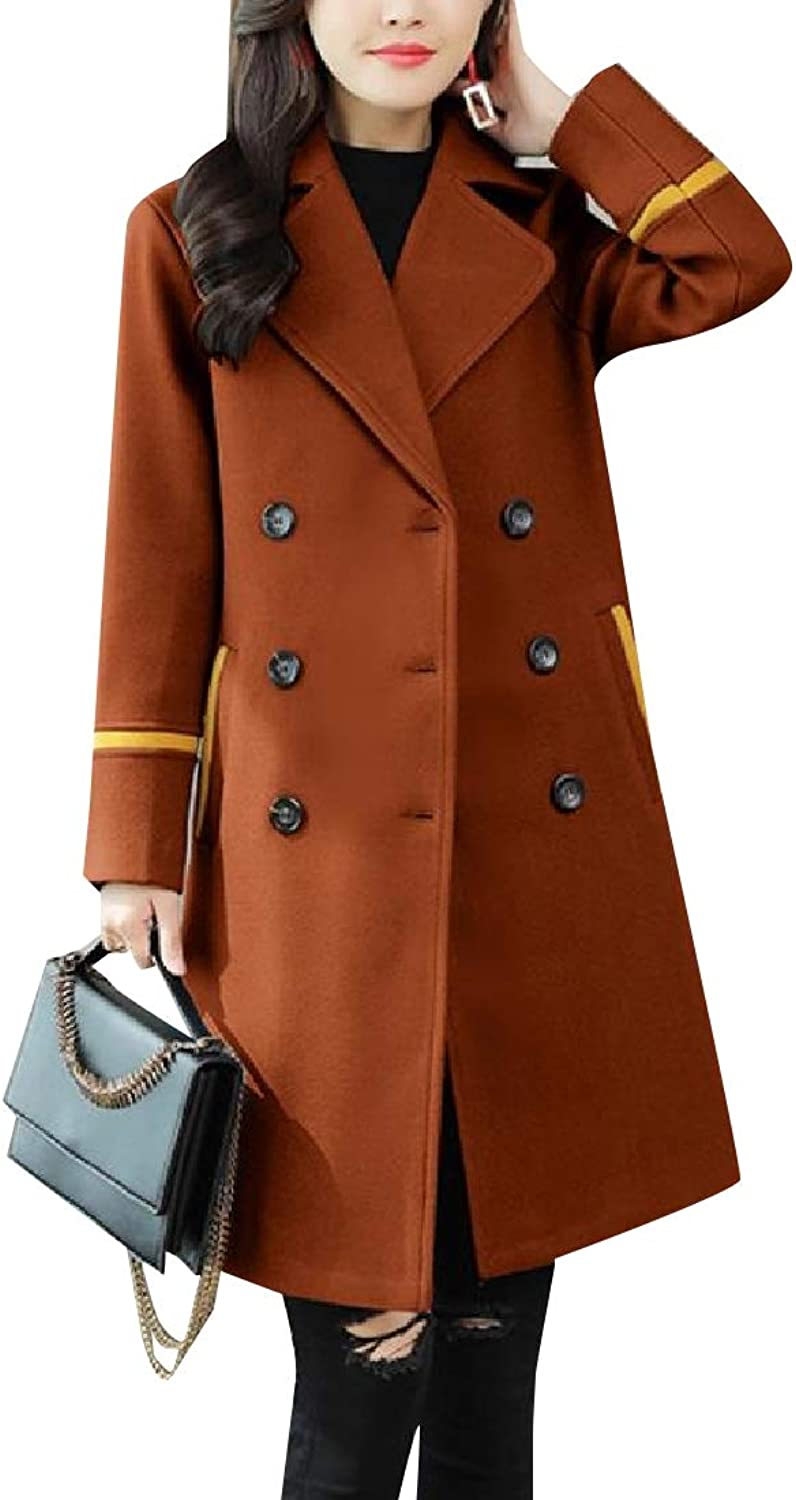 TaoNice Women's DoubleBreasted Stylish Mid Long Warm Loose Pea Coat