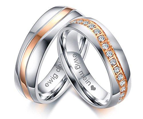VNOX 2 Stück Edelstahl ewig Mein ewig Dein Name Datum personalisierte Zirkonia Hochzeit Verlobungsringe für Paare