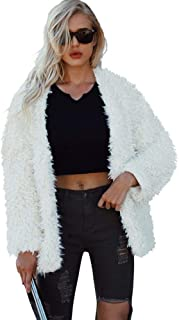 Women Fuzzy Faux Fur Coat V Neck Jacket Winter Warm Cardigan Party Evening Outwear