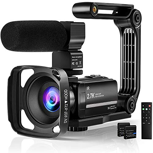 Yoroshi 2.7K Video Camera Camcorde for Youtube,Vlogging Camera UHD IR Night 30FPS 36MP 16X Digital Zoom 3.0 Inch 270° Rotatable Screen Camcorder with Microphone Remote Control