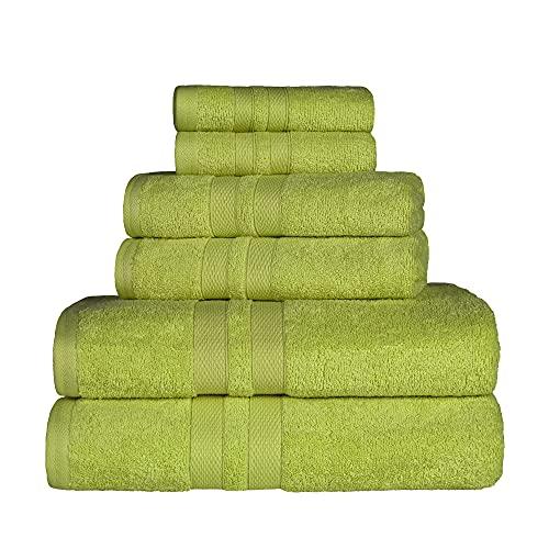 SUPERIOR 100% Cotton Bath Towel Set - 6-Piece Set, 2 Bath Towels, 2 Hand Towels, and 2 Washcloths, Honeycomb Border, Celery