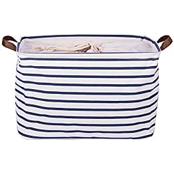"DOKEHOM 17"" Large Storage Basket with blue and white stripes"