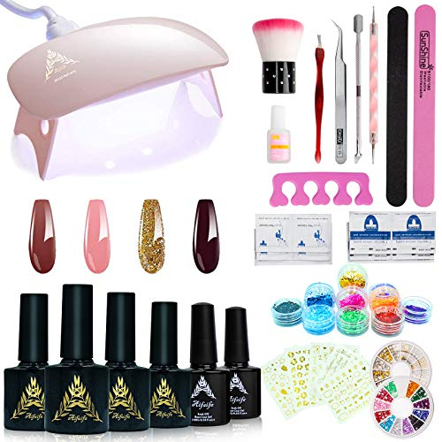 Gel Nail Starter Kit, AIFAIFA at Home Gel Nail Kit with 6W Nail Lamp, 4 Nail Color, Base & Top Coat Set, Nail Decor Rhinestone Glitter Sticker (39pcs)