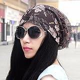 SAIBANGZI Tapa De Encaje Otoño Sopló Velo Biquini Hat Lady Baotou Hat Encaje La Tapa De Aire Acondicionado Pile Cap Fino Sombrero Marrón/A
