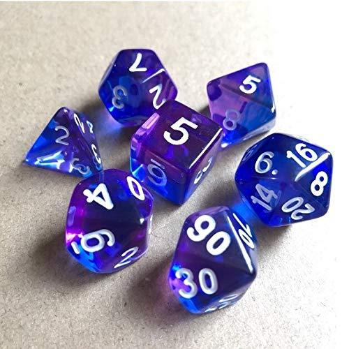 PYSDWE Dados poliédricos 42pcs New Dice Set Dados Tocando Cubos Dados poliédricos para RPG Dungeons y para la enseñanza de matemáticas ( Color : Purpleblue White )