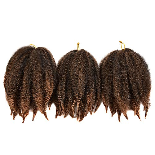 6Packs Marley Hair for Twists 8Inch Short Braiding Hair Afro Kinky Twist Crochet Braids Ombre Synthetic Fiber Hair Extensions for Women(1B-30#)