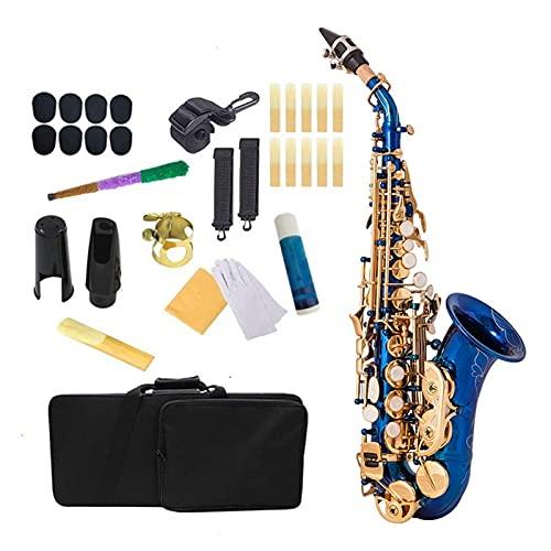 Saxofón Brass Golden Carve Pattern BB Bend Althorn Soprano Saxofón Pearl White Shell Botones Instrumento De Viento Instrumento Viento
