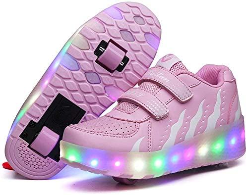 XLYAN Patines Infantiles Unisex LED Luminoso Doble Rueda Monopatín Zapatos De Skate Zapatos De Skate De Niña Al Aire Libre Entrenamiento Deportivo Zapatos