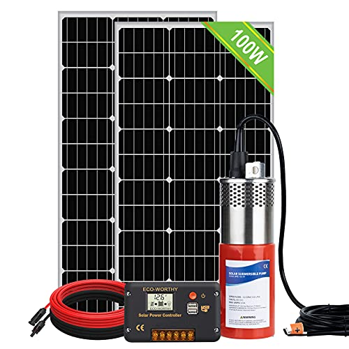 ECO-WORTHY Solar Deep Well Pump System, 24V Water Pump + 2pcs 100W Monocrystalline Solar Panel + 20A Controller +16.4ft Solar Cable for Irrigation