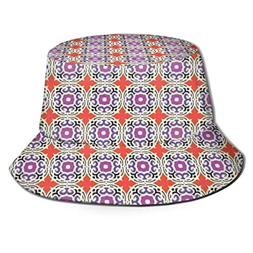 Sombreros de Cubo Patrón étnico Tradicional de Motivos kazajos y turcos y Gorras de Pescador con Parte Superior Plana con Estampado de Flores de Cuatro pétalos para protección Solar