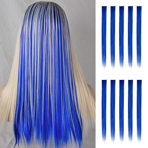 FESHFEN Farbige Haarverlängerung, 10 PCS Dunkelblau Haarteil für Mädchen Princess Party Highlight Bunte glatte Haarverlängerungen Clip in Kostümen Haarteil für Mädchen, 50cm