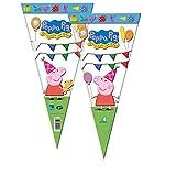 Peppa Pig 2356; Pack 6 Bolsas de Cono Ideal para Fiestas y cumpleaños; Bolsas para gominolas o Regalos; Producto de plástico; Dimensiones 20x40 cm