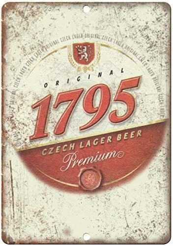 Vintage Retro Aluminium Schild 1795 Chech Lager Premium Beer Blechschild 25,4 x 35,6 cm