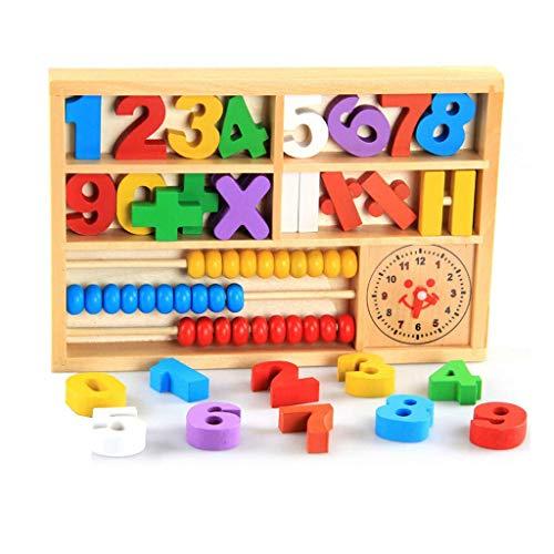 BCLGCF Juguetes Educativos De Madera Caja De Matemáticas 4-En-1 Abacus Colorido Regalo De Aprendizaje, Bloques, Señales De Reloj Y Matemáticas, Juguetes Educativos para Niños Pequeños