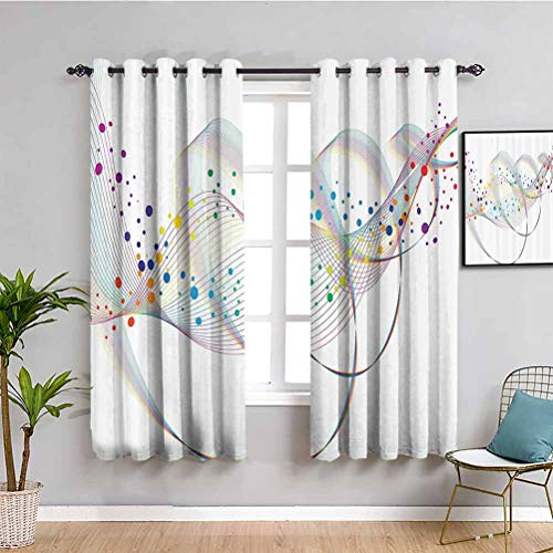 Psychedelic Decor Room Darkened Curtain Abstract Digital Lines in Spiral Lines Music Vibrations Futuristic Display Easy to Clean W84 x L84 Inch Multi