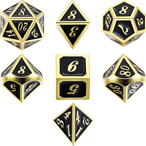 7 Die Metal Polyhedral Dice Set DND Role Playing Game Dice Set with Storage Bag for RPG Dungeons and Dragons D&D Math Teaching (Golden Mysterious Black)