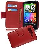 Cadorabo Funda Libro para HTC Desire HD en Rojo DE Chile - Cubierta Proteccíon de Cuero Sintético Liso con Tarjetero y Función de Suporte - Etui Case Cover Carcasa
