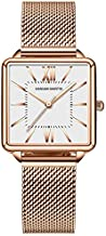 Watches for Women Rose Gold/Silver Mesh Stainless Steel Strap Casual Waterproof Wrist Watch for Ladies with Square Dial