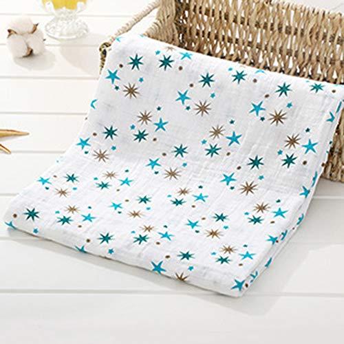 Ymwave Baby Musselin Swaddle Decke Tücher Kinderwagen Decke Bambus Baumwolle Swaddle 120 x 120 cm für Baby Girl oder Boy (Blau Stern)