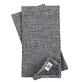 Linen & Cotton Lusso Set di 4 Tovaglioli da Tavola Honeycomb in Tessuto -100% Lino, Nero B...
