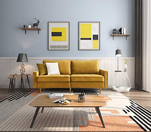 Sofa 2 Sitzer Couch mit Schlaffunktion Bettsofa mit Bettkasten inkl. Kissen Couch Sofagarnitur Schlafsofa mit Bezug aus Samt Polstermöbel für kleine Wohnung Gästezimmer Jugendzimmer (Gelb)