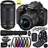 Nikon D3500 DSLR Camera with 18-55mm Lens, 70-300mm Lens (#1588), 500mm Telephoto Lens, 2X Converter, and T Mount Adapter w/Professional Bundle; Includes: 3pc UV Filter Kit, and More