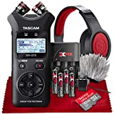Tascam DR-07X Stereo Handheld Digital Audio Recorder with USB Audio Interface + 32GB + Samson Headphones Accessories Bundle