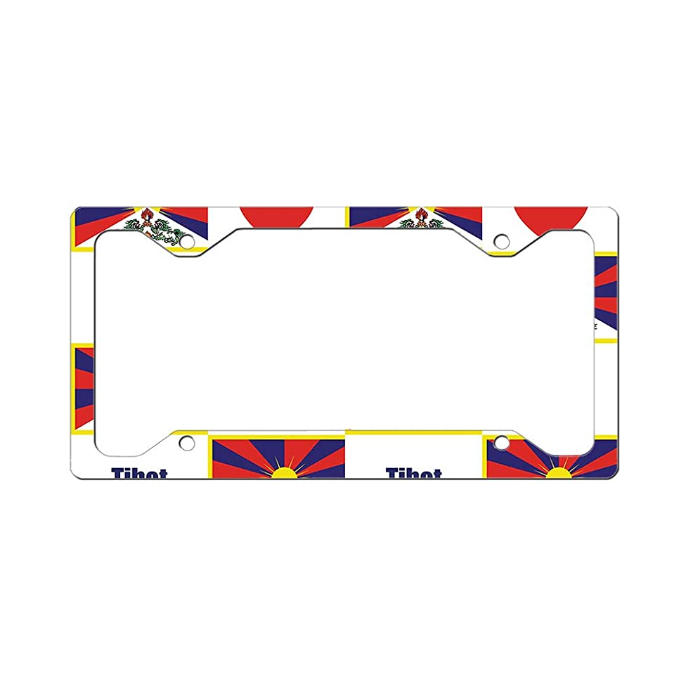 Style In Print Custom License Plate Frame Tibet Flag Heart Aluminum Cute Car Accessories Narrow Top Design Only Set of 2