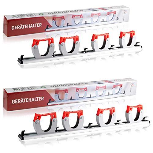 GARLAVIE Gerätehalter mit 4 Haltern und 5 Haken (45cm) I flexible Besenhalterung Wand für mehr Ordnung I Premium Besenhalter und Gartenwerkzeug Halterung