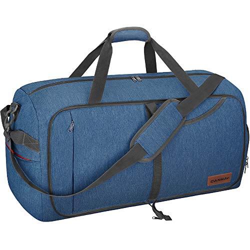 CANWAY Faltbare Reisetasche Leicht Sporttasche mit Abnehmbar Schulterriemen & Schuhfach Reisegepäck für Reisen Sport Gym Urlaub (Blau, 115L)